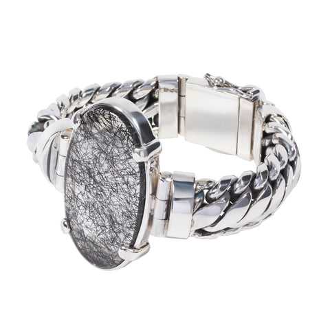 Sterling Silver Parang Bracelet with Tourmalated Quartz