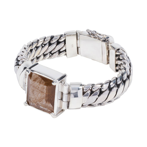 Sterling Silver Parang Bracelet with Rutilated Quartz