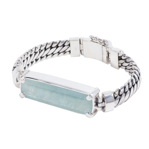 Sterling Silver Parang Bracelet with Aquamarine
