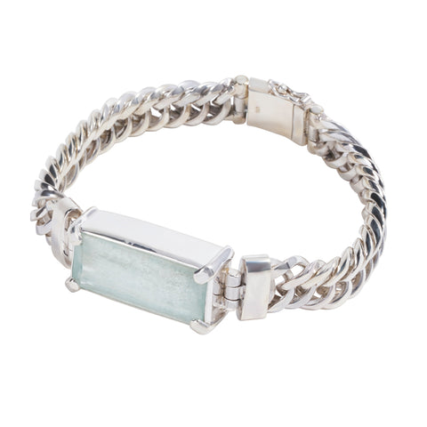 Sterling Silver Interlocking Bracelet with Aquamarine