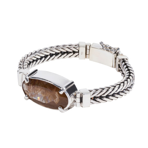 Sterling Silver Square Bracelet with Rutilated Quartz