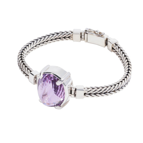 Sterling Silver Square Bracelet with Amethyst