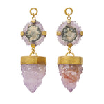 Solid Brass Stalactite Amethyst Druzy Ear Weights