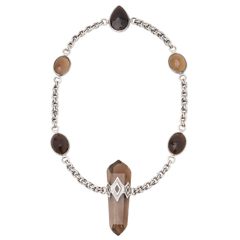 Sterling Silver Smoky Quartz Double Terminated Necklace