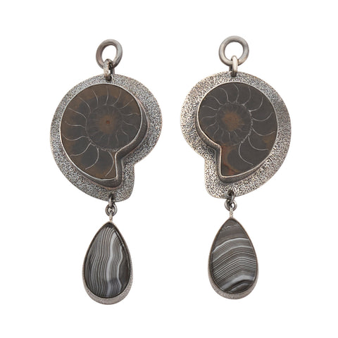 Oxidized Sterling Silver Ammonites - Black Silver Psilomelane Ear Weights