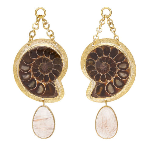 Rutilated Quartz Ammonite Dangles