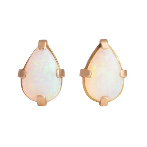 Genuine Australian Opal Pear Cabochon Pin Pair