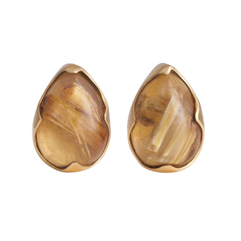 Rutilated Quartz Pear Cabochon Pin Pair