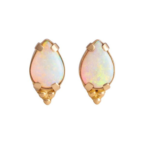 Genuine Australian Opal Oval Cabochon with Tri-Bead Cluster Pin Pair
