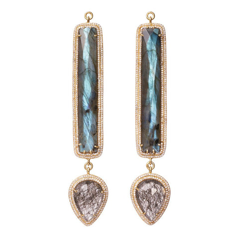 Faceted Labradorite & Faceted Quartz Pave