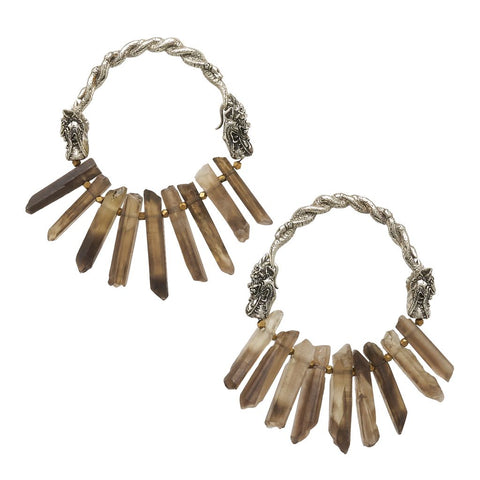 Naga Smoky Quartz Crystal Hoops