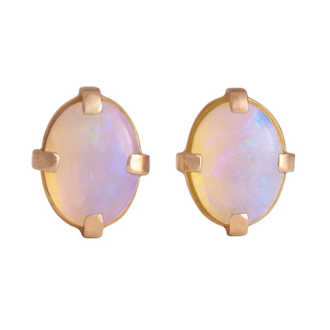 Genuine Australian Opal Oval Cabochon Pin Pair