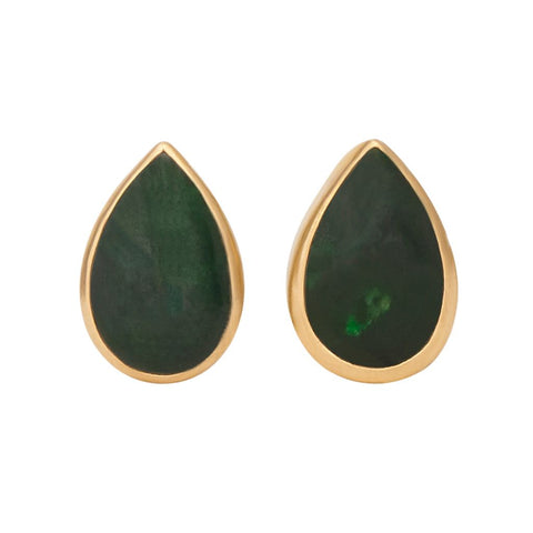 Jade Tear Drop Bezel Cabochon Pin Pair