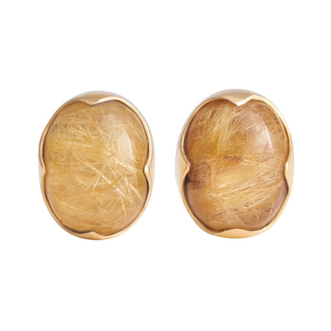 Rutilated Quartz Oval Cabochon Pin Pair