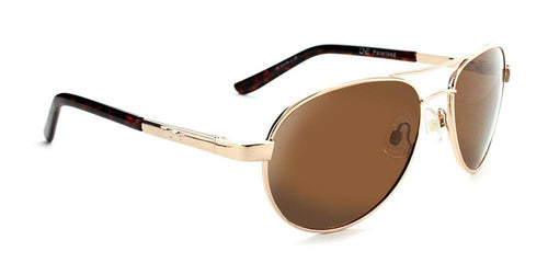 Siren - Compact Polarized Aviator Sunglasses  Gold / Green