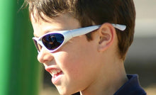 Load image into Gallery viewer, Kids Skimmer - Black / Silver Polarized Sports Wrap Sunglasses