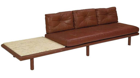 Teak and Leather Daybed with Marble Table by Hvidt and Molgaard-Nielsen