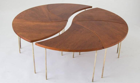 Hvidt and Molgaard-Nielsen Modular Circular Coffee Table, Shown in Two Sections