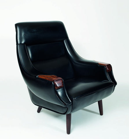 Black Leatherette Armchair with Built-In Ashtray by H.W. Klein