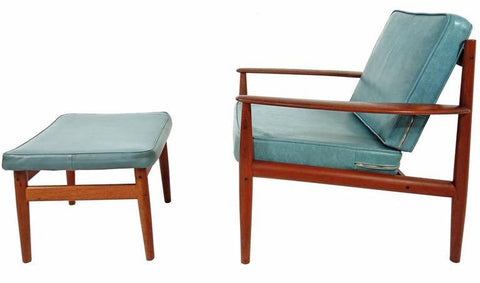 Naugahyde and Teak Lounge Chair by Grete Jalk, via 1stdibs