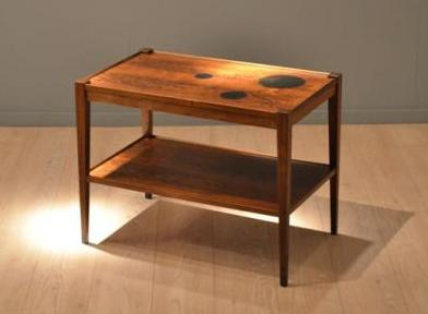 Rosewood Side Table with Bakelite Circles by Grete Jalk, via Pamono.eu