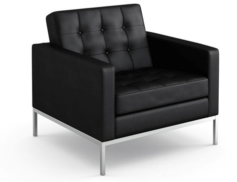 Florence Knoll Black Leather Lounge Chair