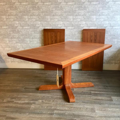 Dyrlund Teak Pedestal Table. From VHB Collection.