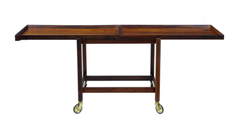 Hundevad Rosewood Serving Table Trolley/Cart, Fully Extended