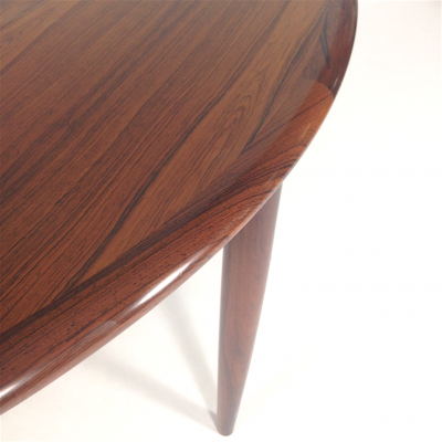 Closeup Moller Round Rosewood Dining Table via Pamono.ca