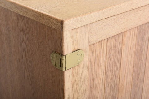 Ostervig Oak Sideboard, Close-up of Wood Panels and Brass Hinge