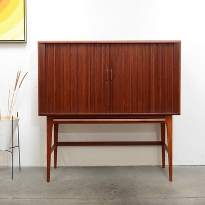Kurt Ostervig Bar Cabinet with Tambour Doors, Front View