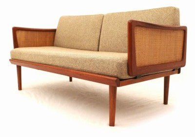 Sofa with Cane Accents by Hvidt and Molgaard-Nielsen
