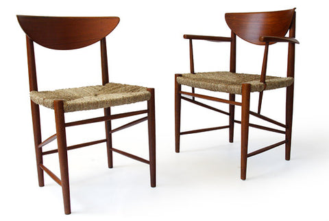 Teak Dining Chairs with Woven Grass Seating by Hvidt and Molgaard-Nielsen