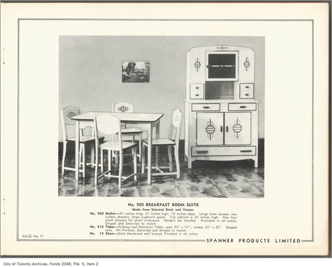 Spanner Breakfast Suite via City of Toronto Archives
