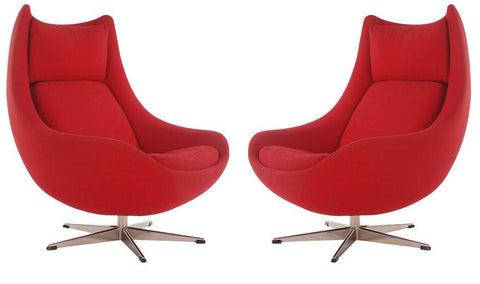 H.W. Klein red egg chairs