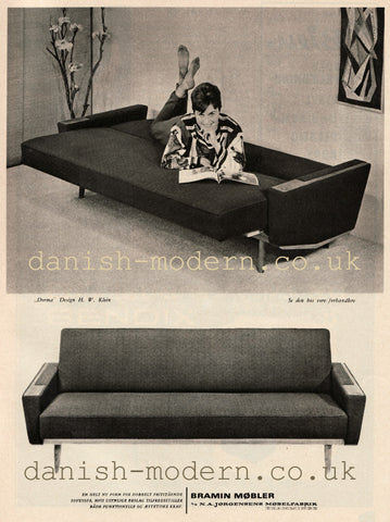 Vintage print advertisement of H.W. Klein sofa bed