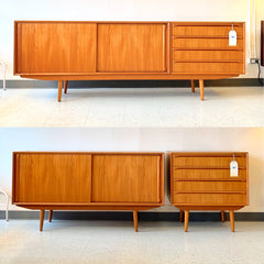 Danish Modern Modular Teak Sideboard With Finished Back