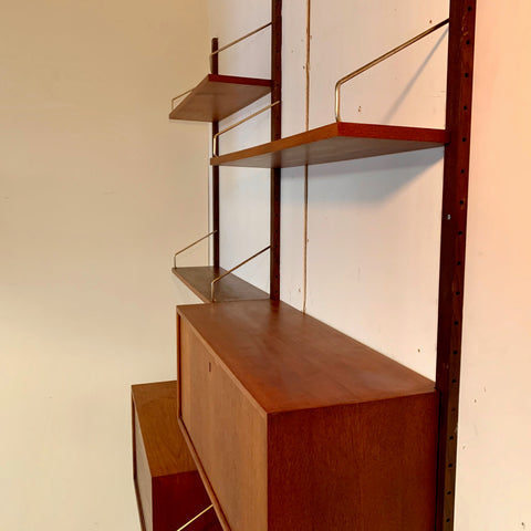 2 Section Danish Modern Teak Wall Unit By Poul Cadovius