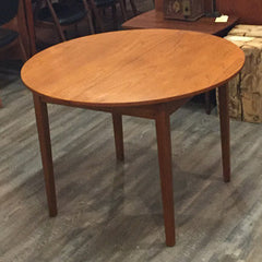 Mid-Century Modern Compact Round Teak Dining Table with Butterfly Leaf - Vintage Home Boutique - 1