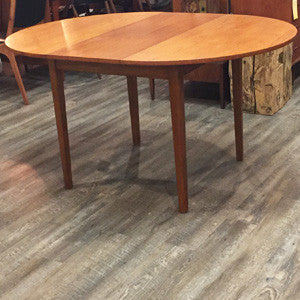 Mid-Century Modern Compact Round Teak Dining Table with Butterfly Leaf - Vintage Home Boutique - 4