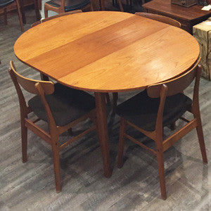 Mid-Century Modern Compact Round Teak Dining Table with Butterfly Leaf - Vintage Home Boutique - 5