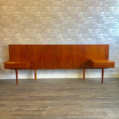 Mid Century Teak Headboard With Floating Side Tables
