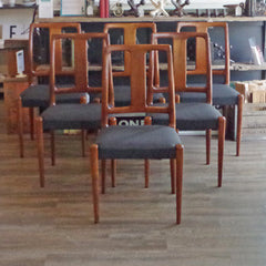 6 Danish Mid Century Teak Dining Chairs - Vintage Home Boutique - 1