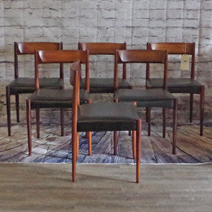 Mid-Century Solid Rosewood Dining Chairs by Lubke
