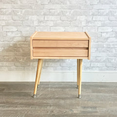 Custom Solid Wood Mid-Century Style Side Tables With One Drawer