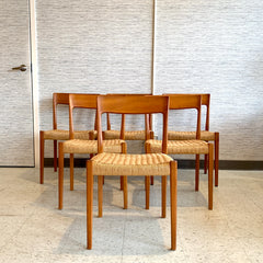 Swedish Modern Teak And Danish Cord Dining Chairs By Svegards Markaryd