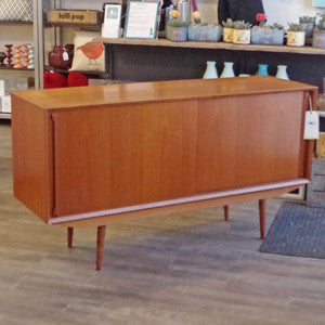 Mid Century Danish Teak Sideboard with Finished Back - Vintage Home Boutique - 2