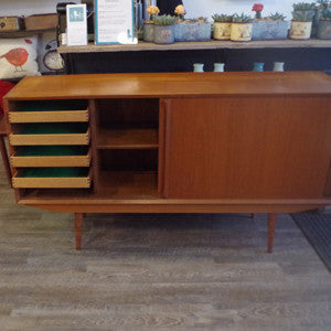Mid Century Danish Teak Sideboard with Finished Back - Vintage Home Boutique - 5