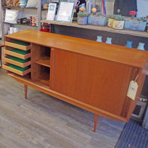 Mid Century Danish Teak Sideboard with Finished Back - Vintage Home Boutique - 6
