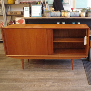 Mid Century Danish Teak Sideboard with Finished Back - Vintage Home Boutique - 7